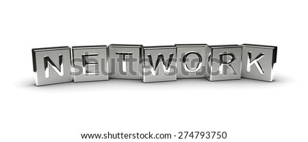 Metal Network Text (isolated on white background) - stock photo