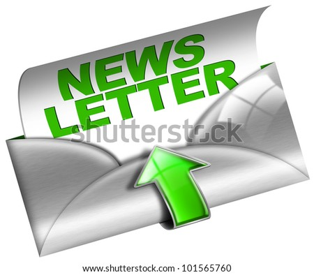 Metal Newsletter Web Concept / Newsletter marketing concept on white background - stock photo