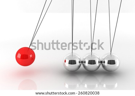 Metal Newton\'s Cradle Isolated on White. One Red Metal Ball Team Leader Concept. 3D Render Illustration. - stock photo
