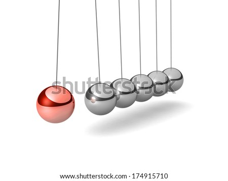 Metal Newton's cradle with one red ball isolated on white background. Balancing balls Newton's cradle. 3D render. - stock photo