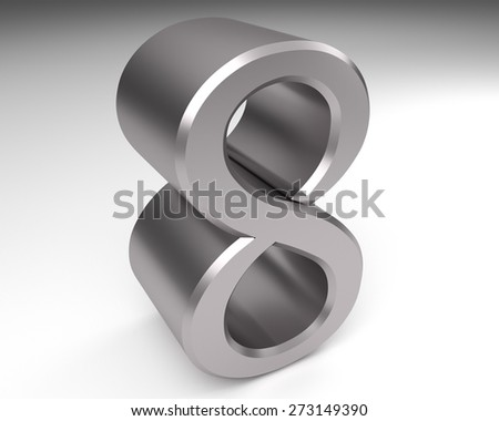 metal number eight 3D - stock photo