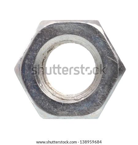 Metal nut isolated on white background - stock photo