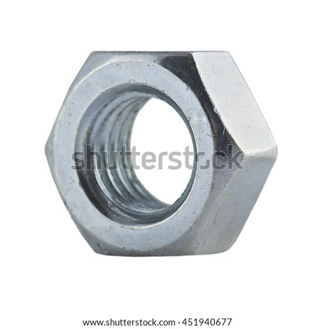 metal nut, with clipping a patch on a white background
