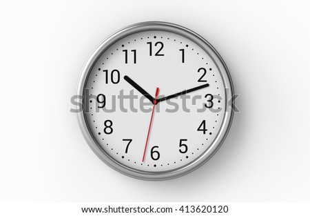 Metal office clock with numbers on white wall. 3D illustration