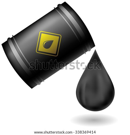 Metal Oil Barrel Isolated on White Background. Big Drop of Oil. Fuel Droplet. Drop of Oil Poured from a Black Barrel - stock photo