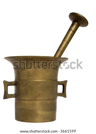 metal old mortar and pestle on the white background