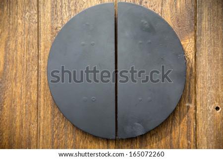 metal on door design - stock photo