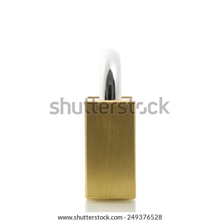 Metal padlock gold isolate on over white background - stock photo