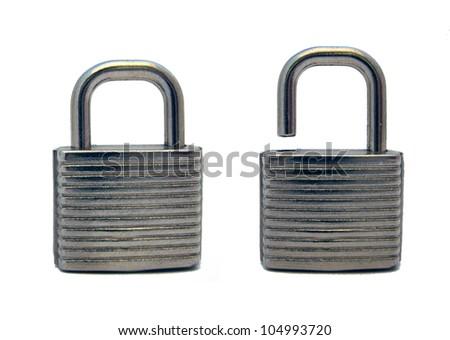 metal padlock locked and unlocked on white - stock photo