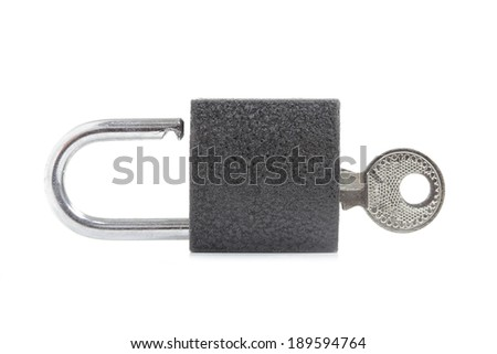 Metal padlock on white - stock photo