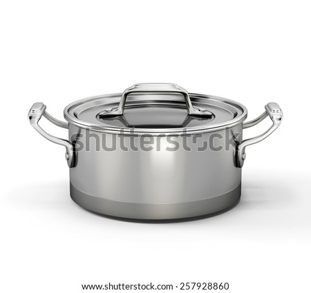 Metal pan for boiling isolated on white background. 3d illustration. - stock photo