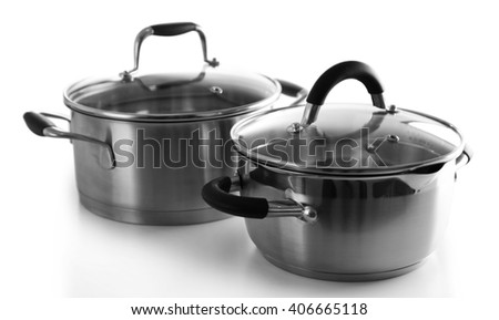 Metal pans isolated on white
