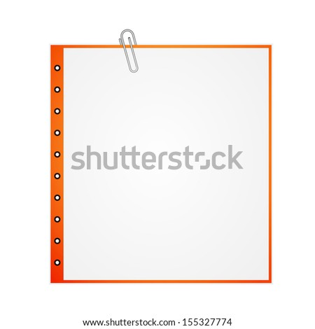 Metal paper clip and paper isolated on white background. See also vector version - stock photo