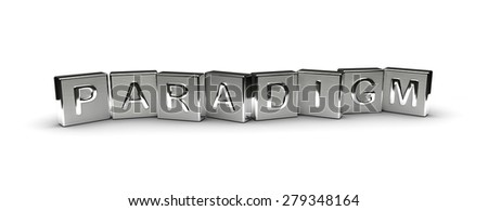 Metal Paradigm Text (Isolated on white background) - stock photo