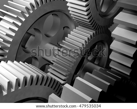 Metal parts on a gray background.,3d render