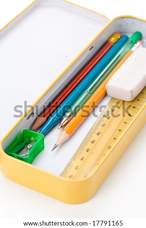 Metal pencil case with white background