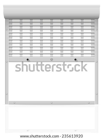 metal perforated rolling shutters illustration isolated on white background - stock photo
