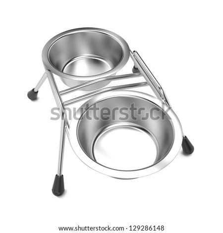 Metal Pet Bowl Isolated on White Background. - stock photo