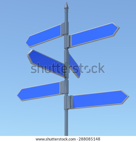 Metal pillar with signposts directions - stock photo