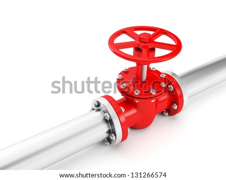 Metal pipe and a red valve, valve, valve. Industrial image - stock photo