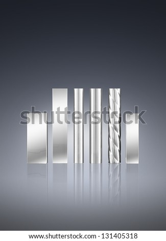 Metal pipe and square tube on background - stock photo
