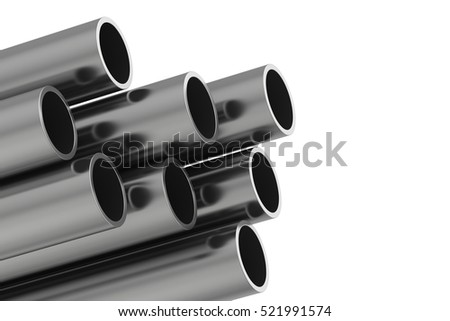 Metal pipe. 3d rendering illustration isolated on white background.