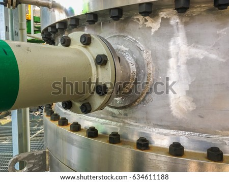Metal pipe flanges with bolts and nut, Pipe line in oil and gas industry and installed in refinery plant process.