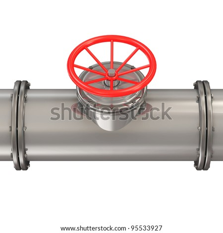 Metal Pipeline with Red Valve isolated on white background - stock photo