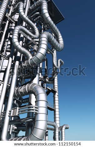 metal pipes against the sky. - stock photo