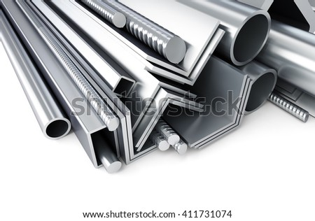metal pipes, angles, channels, squares. 3D rendering, on a white background - stock photo
