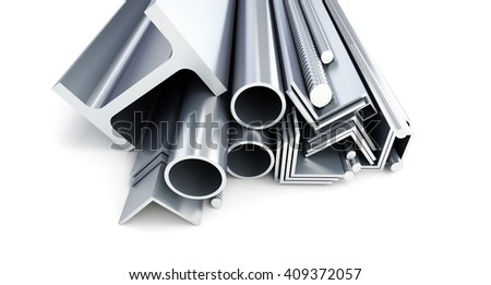 metal pipes, angles, channels, squares. 3D rendering on a white background. 3D illustration