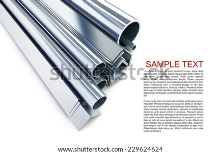 metal pipes, angles, channels, squares on a white background  - stock photo