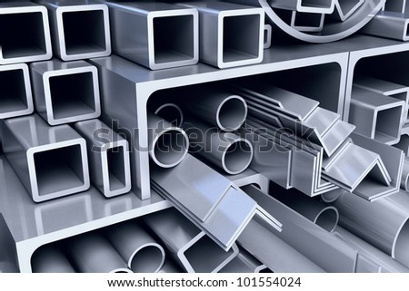 metal pipes background - stock photo