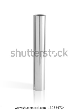 metal pipes isolated on white - stock photo