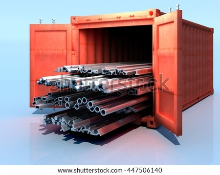 Metal pipes of the container..3D rendering