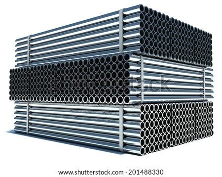 Metal pipes. Steel industry - stock photo