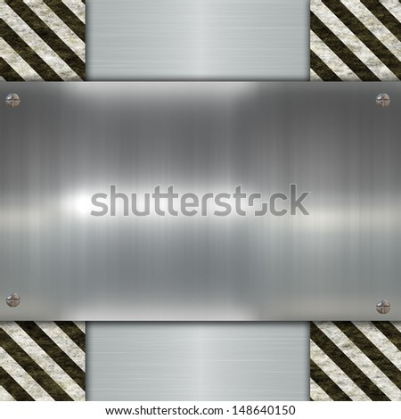 metal plate and warning stripes