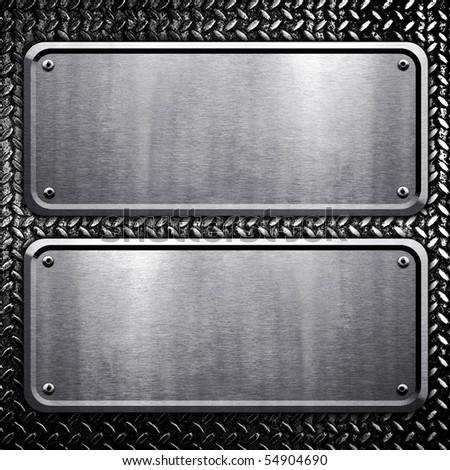 metal plate on diamond background - stock photo