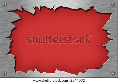 Metal plate series: ripped. With room for text. - stock photo