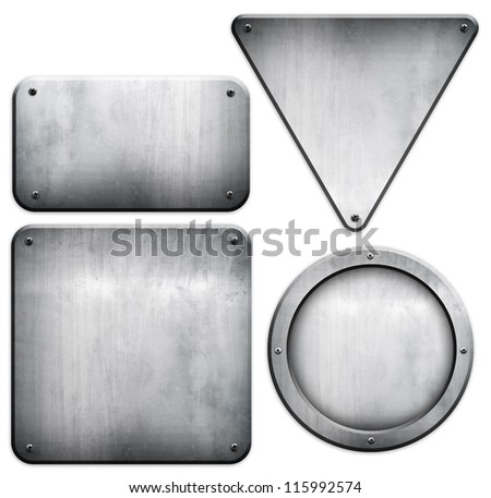 metal plate set (isolated with clipping path) - stock photo