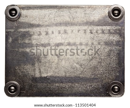 Metal plate texture with rivets - stock photo