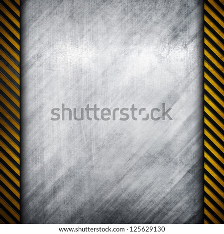metal plate with attention stripes - stock photo