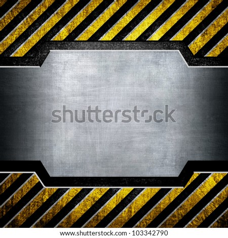 metal plate with black and yellow stripes - stock photo