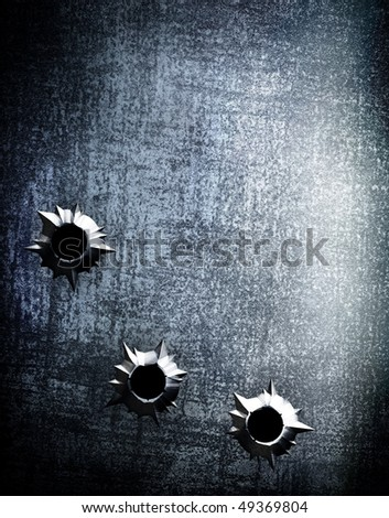 metal plate with bullet hole