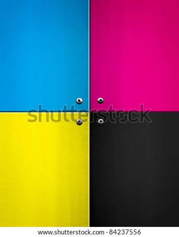 metal plate with CMYK color - stock photo