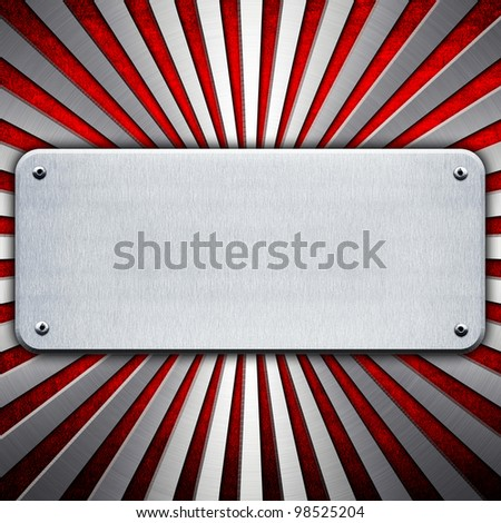 metal plate with stripe pattern - stock photo