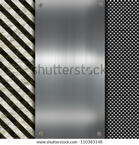 metal plate with warning sign - stock photo