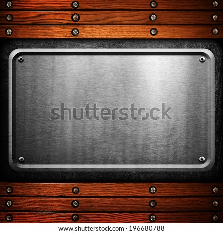 metal plate with wood frame  - stock photo