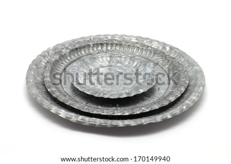 Metal plates isolated on white background - stock photo