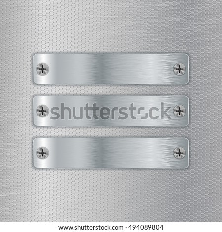Metal plates screwed to perforated background. 3d illustration. Raster version